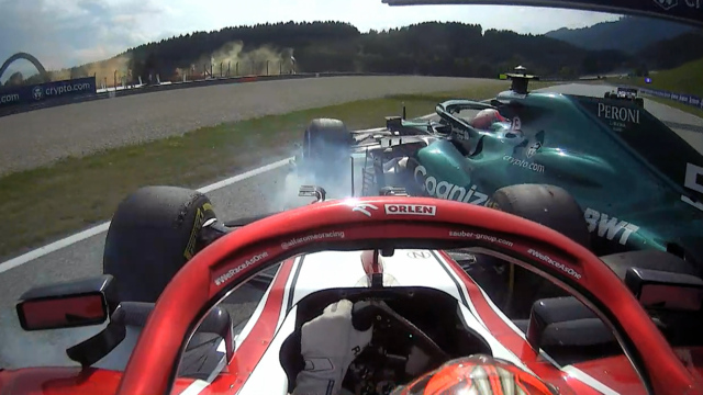 2021 Austrian Grand Prix: Räikkönen and Vettel collide on final lap