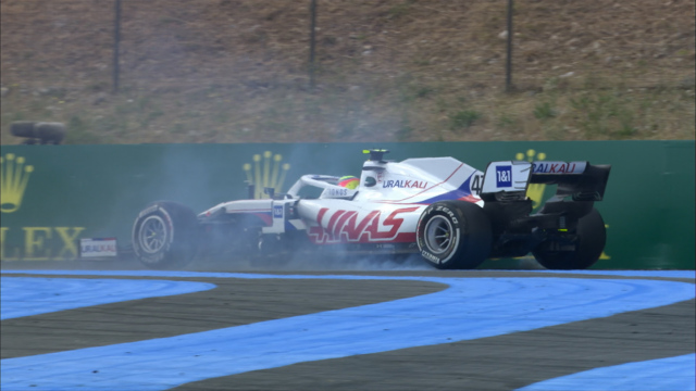2021 French GP FP1: Schumacher hits the wall at Turn 3
