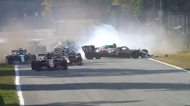 2021 Italian Grand Prix: Dramatic spin for Antonio Giovinazzi at start of Italian Grand Prix
