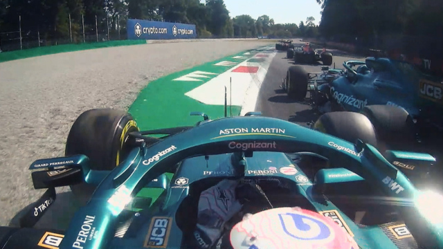 2021 Italian Grand Prix: Onboard with Vettel as team mate Stroll forces him wide at Monza