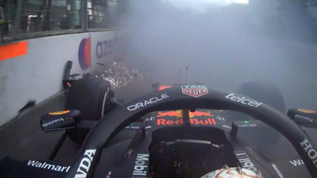 Listen to Dutch commentators' heartbreak as Verstappen crashes in Azerbaijan