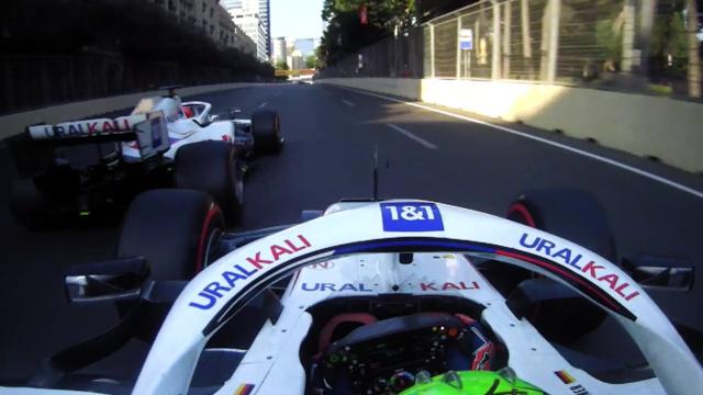 2021 Azerbaijan Grand Prix: Late move as Schumacher overtakes Mazepin on last lap