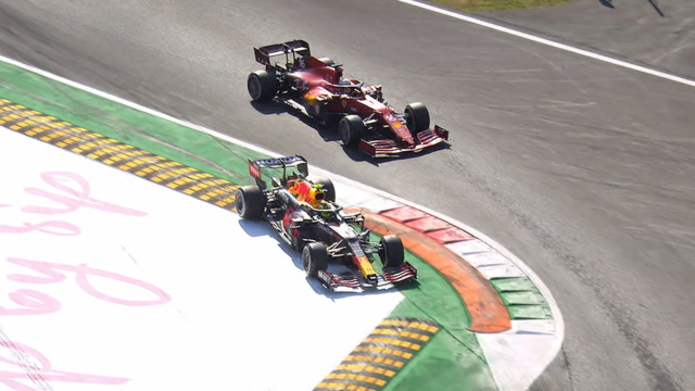 2021 Italian Grand Prix: Sergio Pérez jumps over corner to overtake Charles Leclerc before receiving penalty